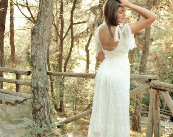 Wedding Dress Gypsy Wedding Dress Long Bridal by SuzannaMDesigns