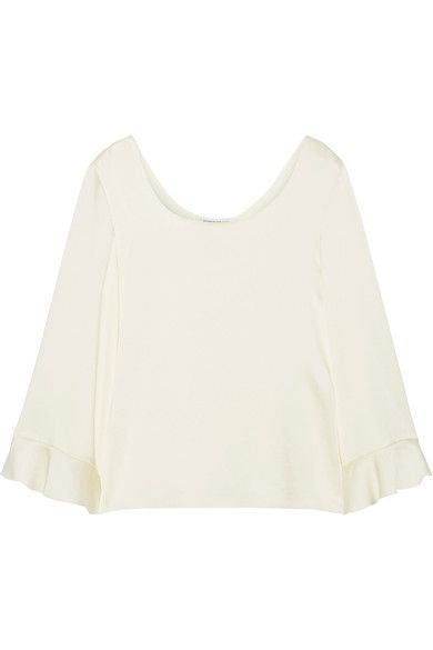 Elizabeth and James - Karlotta Ruffle-trimmed Satin-crepe Top - Cream - x small