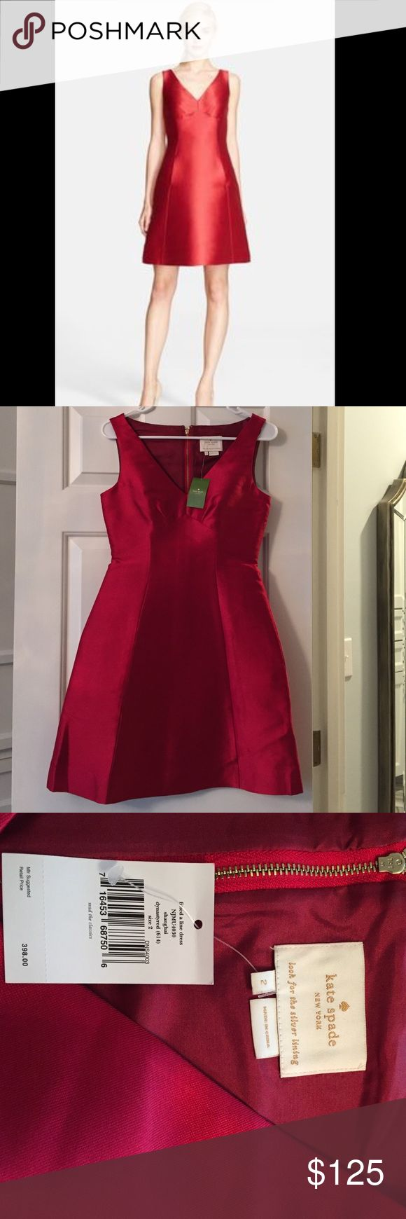 Kate Spate Red A Line Fitted Dress Gorgeous red fitted a line Kate Spade dress. Color is a gorgeous dark red, perfect for Valentines Day 💕 kate spade Dresses