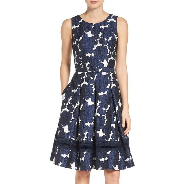 Petite Women's Eliza J Jacquard Fit & Flare Dress ($178) ❤ liked on Polyvore featuring dresses, navy, petite, eliza j dresses, petite dresses, circle skirt, flared pleated skirt and navy dress