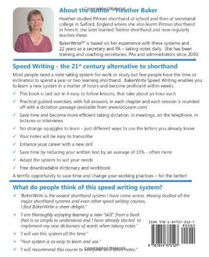 Speed Writing, the 21st Century Alternative to Shorthand, A Training Course with Easy Exercises to L
