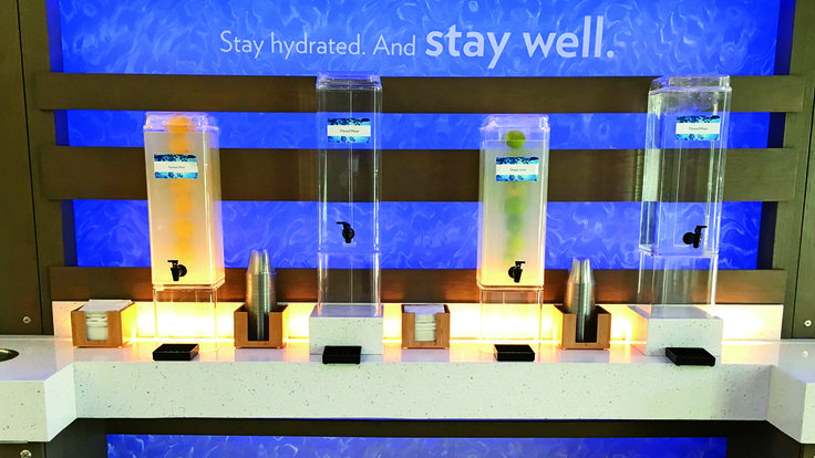 InterContinental Hotel Group's Even hotel in Brooklyn has a hydration station in the lobby and on every other floor as part of its wellness concept. Photo Credit: Johanna Jainchill