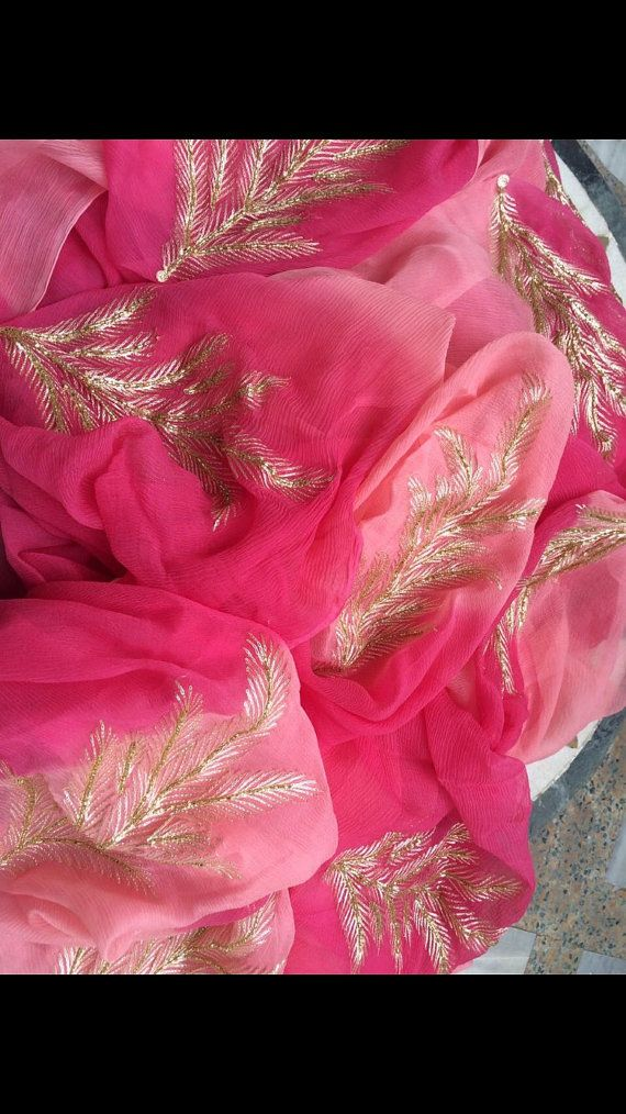 Beautiful shaded pure chiffon Saree with hand embroidered motifs and a matching blouse