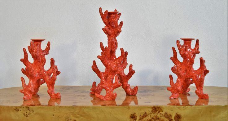 Portacandele corallo in ceramica.