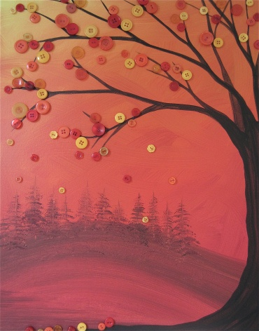 autumn inspired forested tree button art