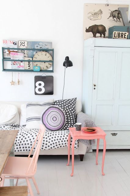 Kasparas Regnbue | pretty pink side table in pastel room with lots of overlapping patterns and textures