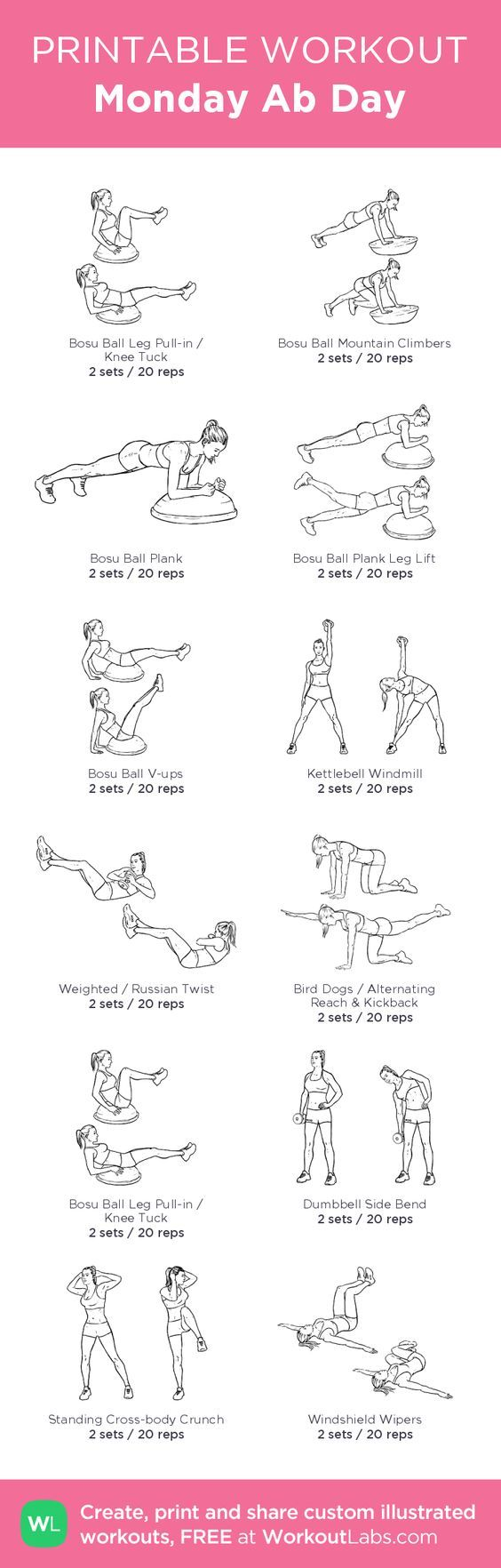 Monday Ab Day– my custom exercise plan created at WorkoutLabs.com • Click through to download as a printable workout PDF #customworkout