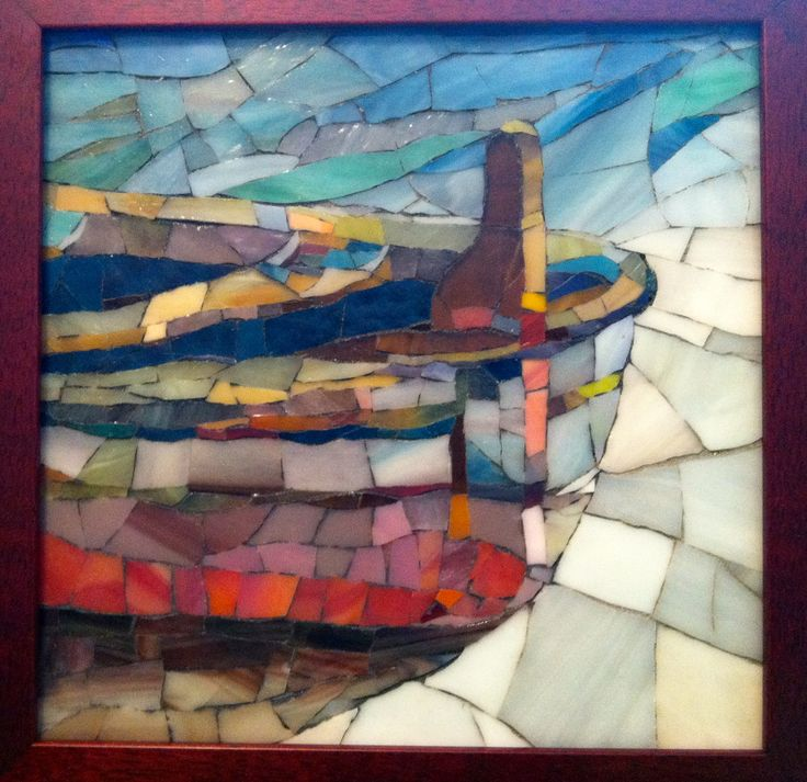 """Cape Cod 8""""x8"""" stained glass mosaic boat on shore"""