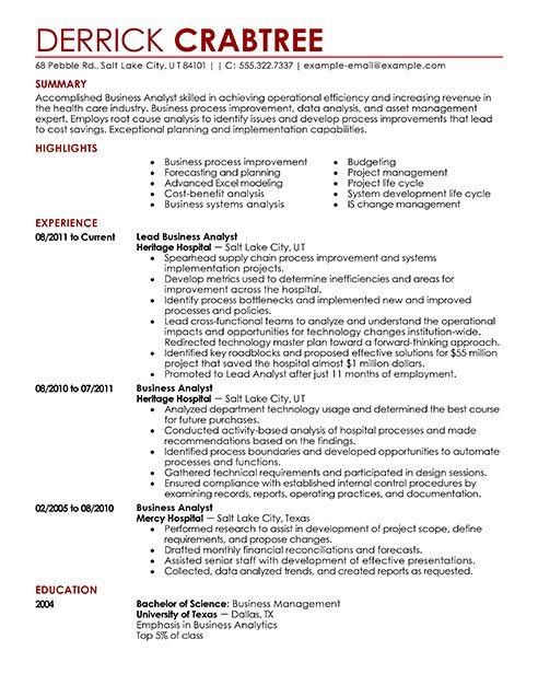 10 best Best Business Analyst Resume Templates \ Samples images on - business analyst resume summary