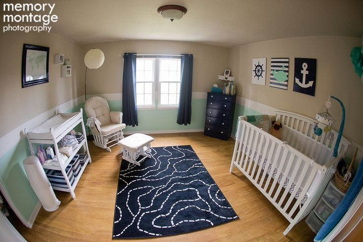 Navy and mint nursery, Nautical theme, white furniture, navy curtains, mint walls.