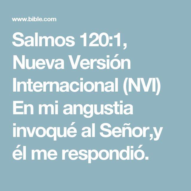 Salmos 120:1, Nueva Versión Internacional (NVI) En mi angustia invoqué al Señor,y él me respondió.