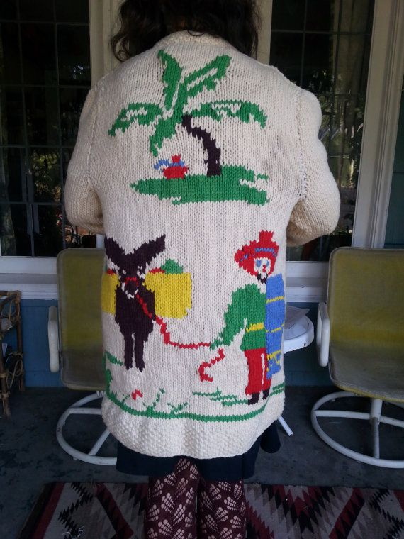 Mexican Tourist Sweater Donkey Wool love by vitch on Etsy