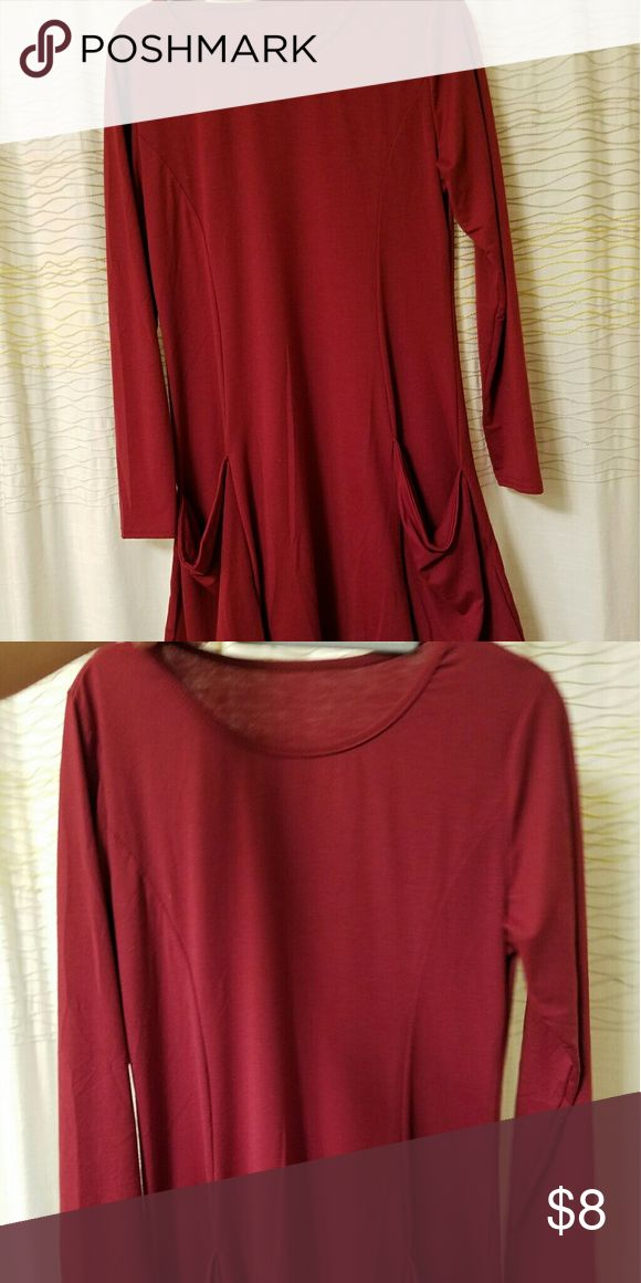 M Red Tunic / Dress with scoop neck and pockets Medium burgundy colored Tunic / Dress with long sleeves, scoop neck, and pockets. Goes cute over tights, add a belt for a different look. Very comfy Dresses Mini