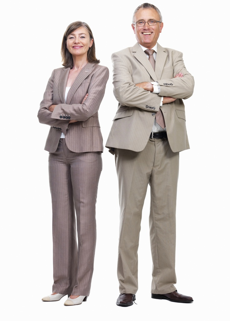Pantsuits - also notice their hair is maintained and out of their face and shoes are clean
