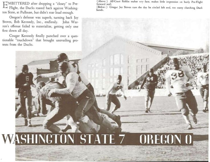 Recap of 1942 Oregon - Washington State football game in Pullman, WA.  From the 1943 Oregana (University of Oregon yearbook).  www.CampusAttic.com