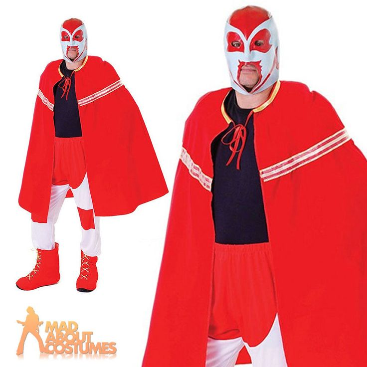 Adult Mexican Wrestler Costume Sports Fighter Mens Fancy Dress Accessory New