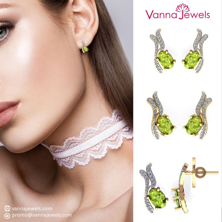 Vanna Jewels Peridot Gemstone Women's Stud Earrings Authentic Jewelry Studded With Certified Diamond Set in Solid Yellow Gold