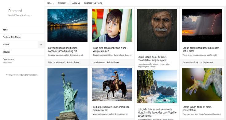 Diamond WordPress theme. A free masonry grid style blogging theme. More info: http://curatable.net/20-free-wordpress-themes-i-would-actually-use-to-start-a-new-blog-in-2016/