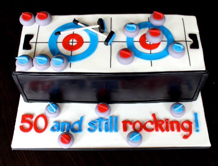 curling themed birthday cake