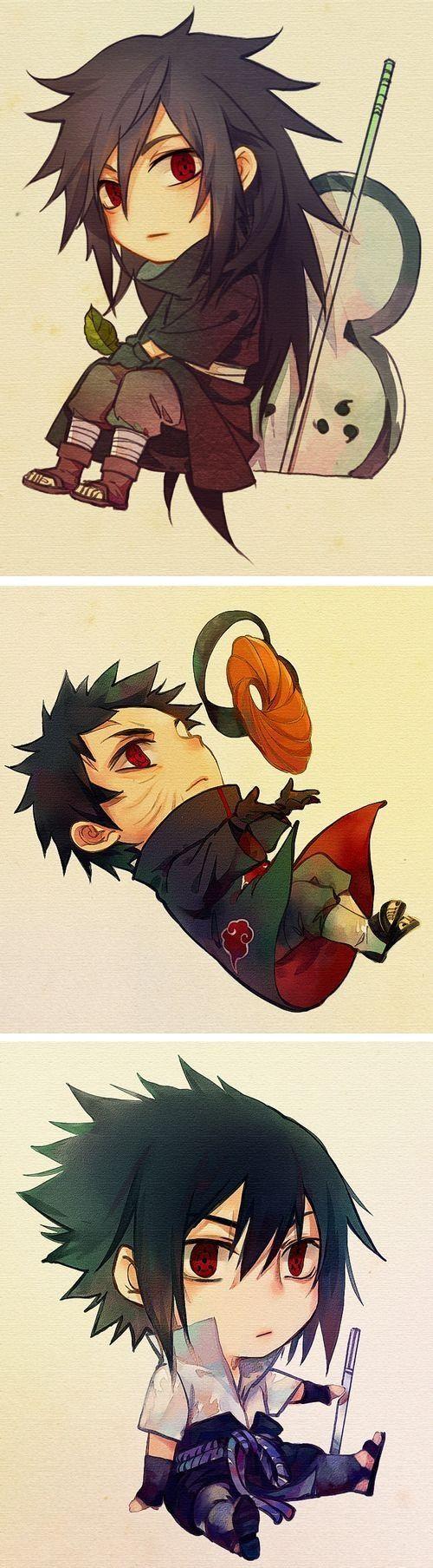 Madara Uchiha, Obito Uchiha aka Tobi, and my favorite, Sasuke Uchiha.