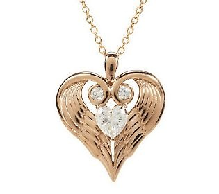 Diamonique Sterling orClad Angel Wing Heart Pendant w/Chain14K Rose, 14K Yellow, Angel Wings, Pendants, Heart, Orclad Angels, Gold Cladding Sterling, Diamonique, Angels Wings