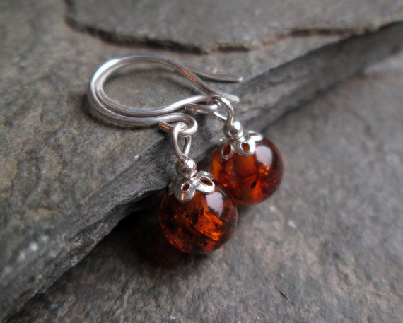 Amber Earrings - Amber Jewelry, Silver Earrings, Gift Jewellery, Bridesmaid Gift