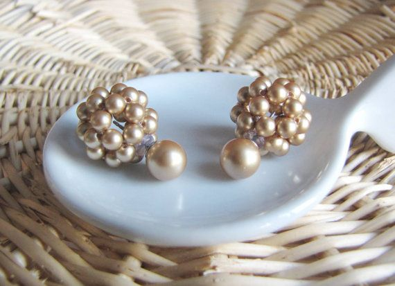 vintage gold double sided earrings double pearl earrings two sided earrings front back earrings