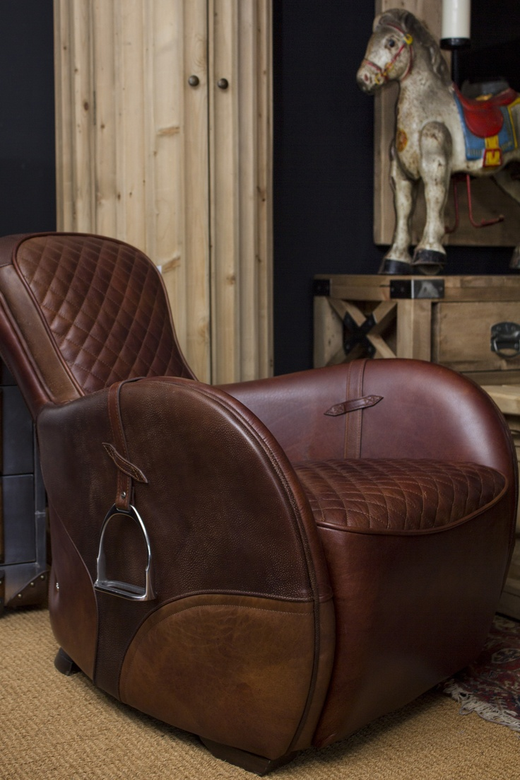 Timothy Oulton Saddle Chair and Vintage 1950s toy horse
