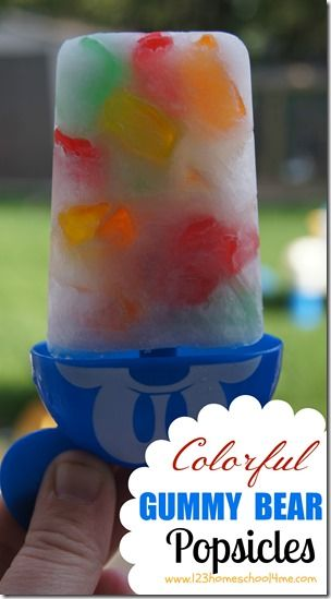 Recipes for Popsicles - Colorful Gummy Bear Popsicles #summer #yummy #recipes
