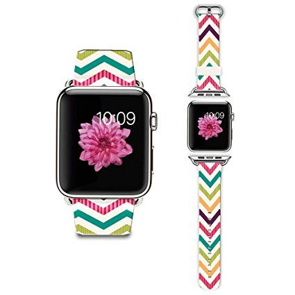 Apple Watch Strap Apple Watch Band 38MM Genuine Leather Strap Wristband With Free Adapters for Apple Watch/ Sport/ Edition 38mm-Colorful Chevron pattern Review 2017