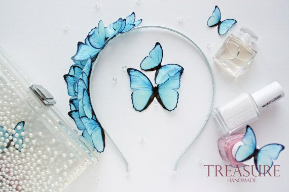Bridal headband with light blue butterflies, blue bridal headband, butterfly bridal headband, blue wedding headbands, blue bridal headpiece