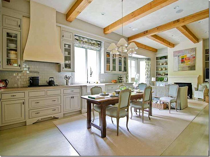 This is a great blog entry re how design changes a look.  This kitchen caught my eye in thinking of a wide open kitchen in a barn-like home or ranch.. wish the beams were darker and rougher with a wide plank, rougher floor, different chandelier and less formal furniture.
