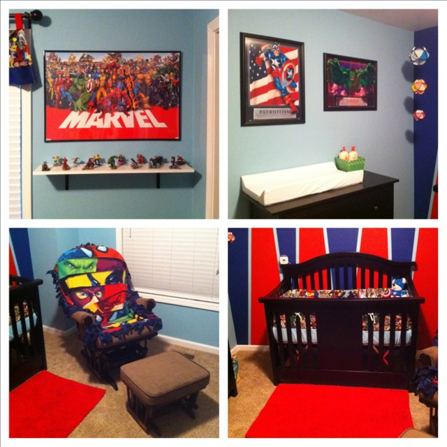 """My son is going to have the most awesome nursery! May have to grow into this """"big kid"""" room, but he'll love it! (Marvel Comic theme)"""