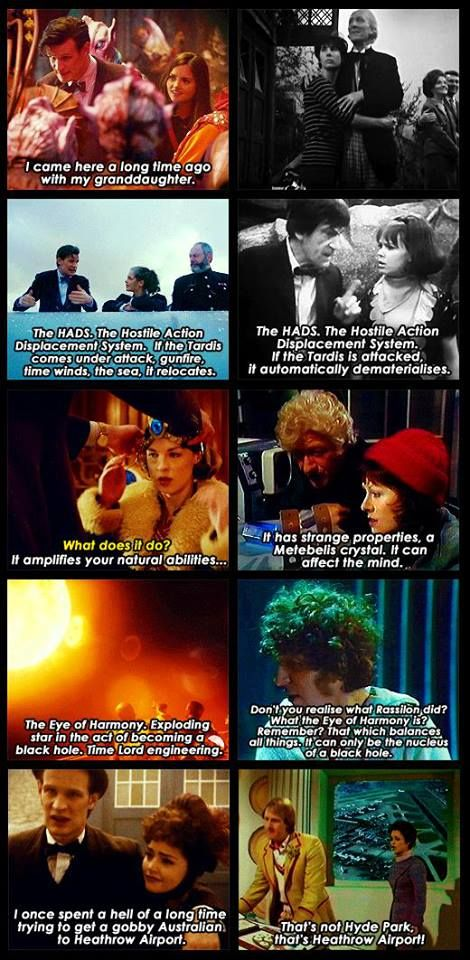 References. I feel that there have been so many more references to the classic Doctor Who lately... it makes me happy.