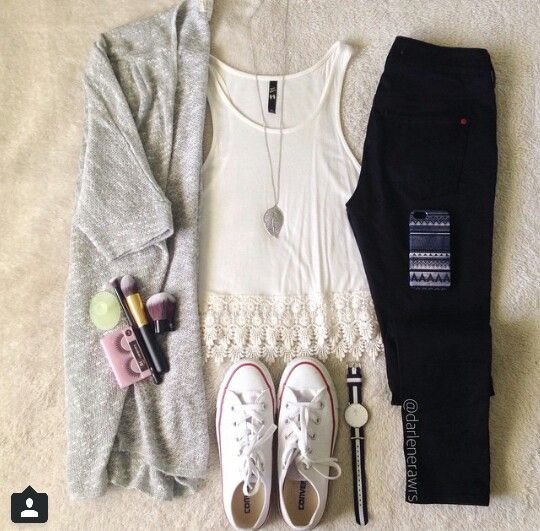 Cute shear tank with black skinny jeans, grey cardigan, and converse