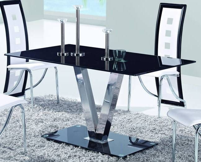 D551 Series Contemporary Black Glass Stainless Steel Dining Table