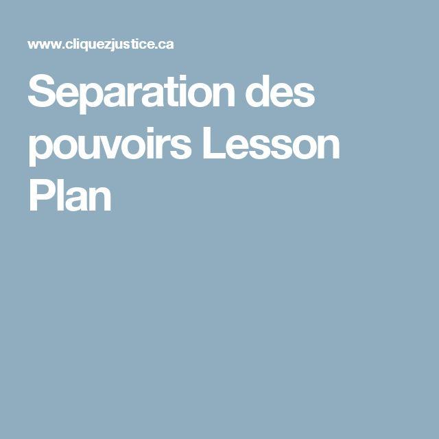 Separation des pouvoirs Lesson Plan