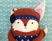 21 inch handmade dark orange Fox Weesie Pal with small ear (microtia) and BAHA (bone anchored hearing aid)