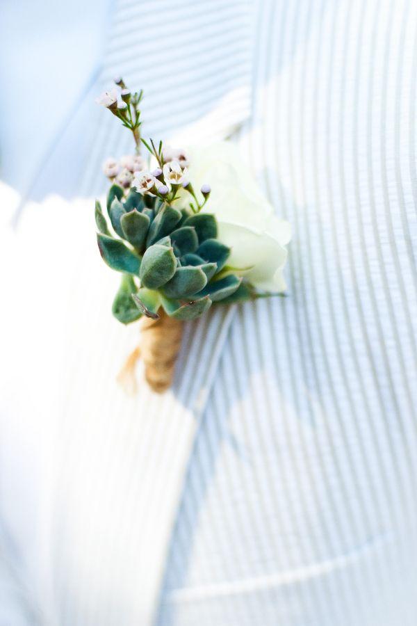 Very elegant boutonniere by this rustic Retro Wedding  |  brinton studios