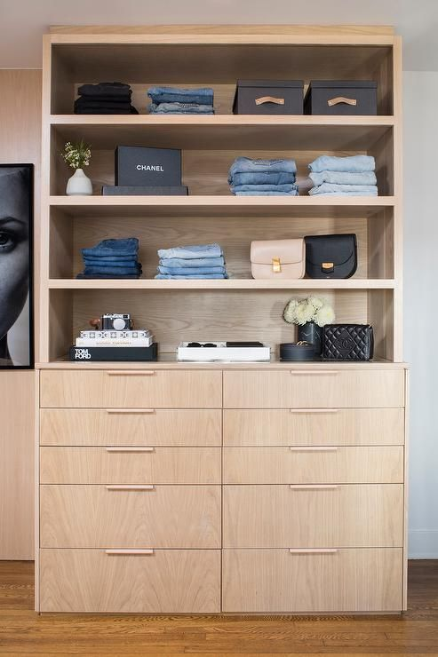 Great Sleek Light Oak Closet Shelves Display Gorgeous Designer Clothing And  Accessories Just Like A Boutique. This Walk In Closet Features A 10 Dru2026