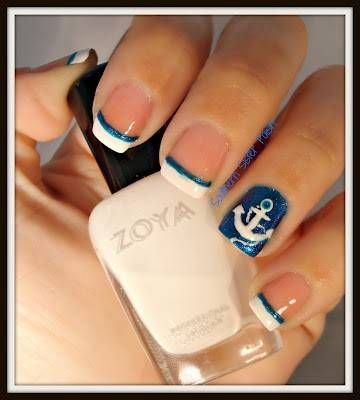 cute nail designs white french tip   Anchor Nails, Blue and white tips with an accent anchor nail.