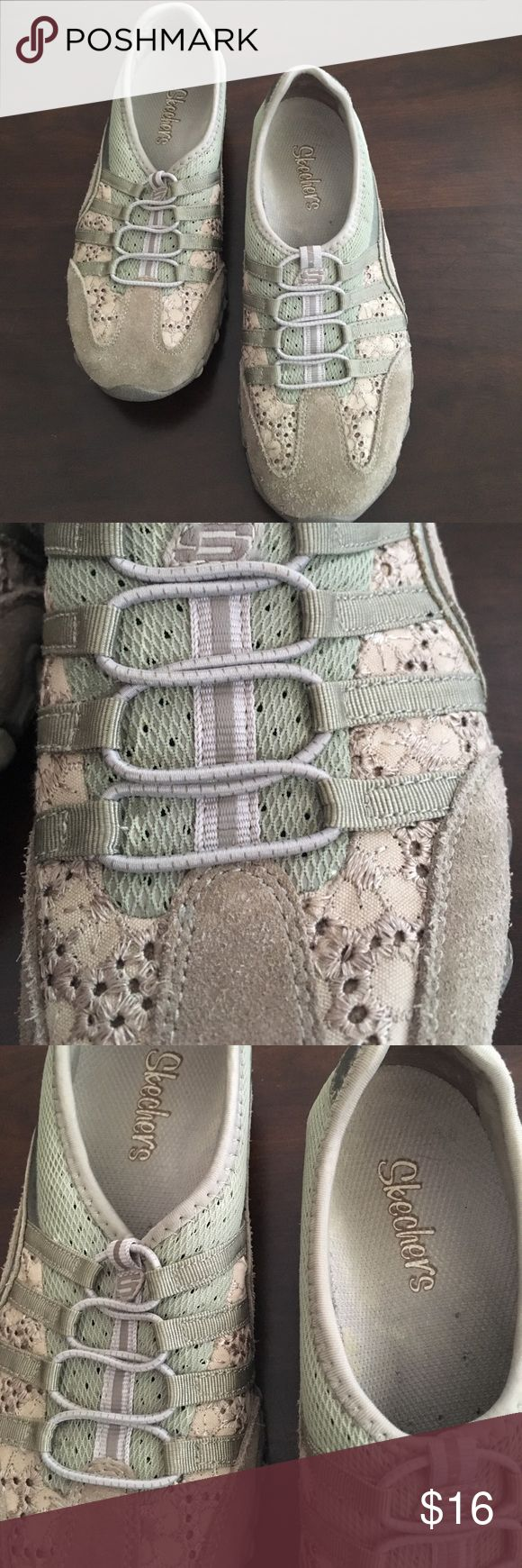 Skechers Slip On Sneakers Tan, cream and olive green colored skechers slip on sneakers, size 6, and in great condition! Skechers Shoes Sneakers