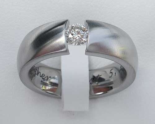 1/4 Carat Tension Set Titanium Engagement Ring