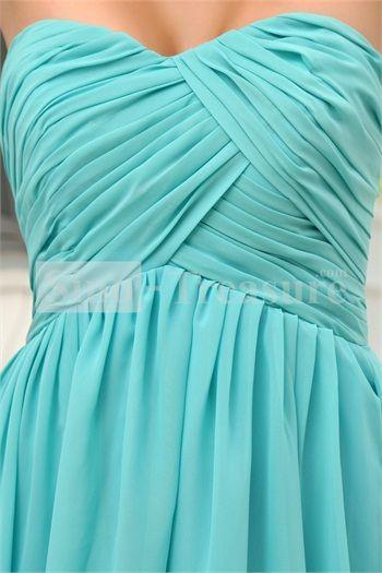 Turquoise A-Line Sweetheart Short/ Mini Chiffon Bridesmaid Dress -Wedding & Events-Wedding Party Dresses-Bridesmaid Dresses-Strapless Bridesmaid Dresses