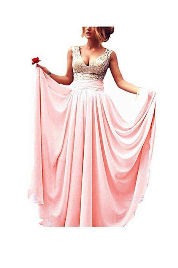 A-line V-neck Sequins Top Chiffon Long Prom Dresses Evening Dresses PG275