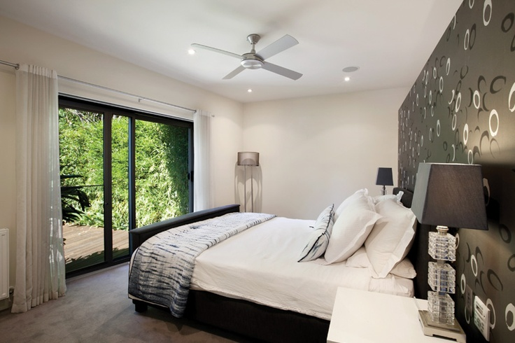 Balwyn House Master Bedroom - looking out over the front gardens.