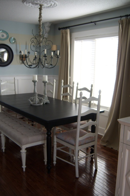 Simple Neutral Dining Room Ladder Back Chairs Love The Matchy Upholstered Bench Diy And Or Crafts For Mom In 2018 Pinterest