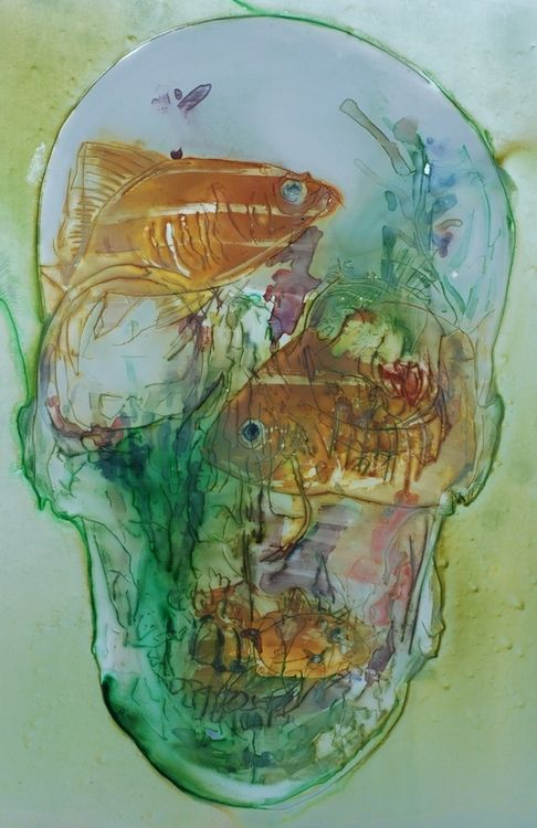 : Organizations Ideas, Watercolor Pencil, Goldfish Skull, Projects Ideas, Skull Art, They Twist, Classroom Organization, Fish Head, Jaap De