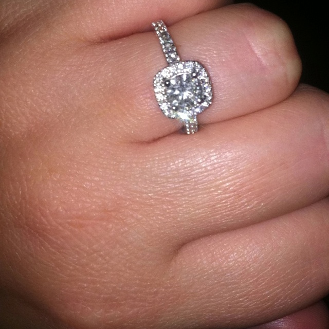 I love my engagement ring! Cushion cut with halo!