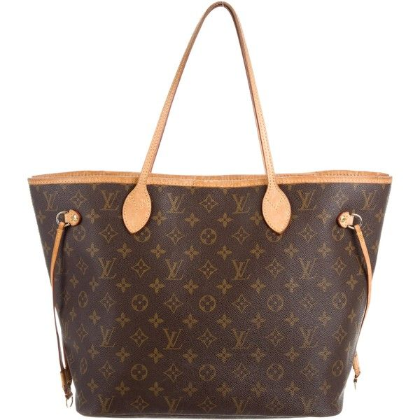 Pre-owned Louis Vuitton Monogram Neverfull MM (£760) ❤ liked on Polyvore featuring bags, brown, louis vuitton, brown drawstring bags, coated canvas bags, louis vuitton bags and brown bag